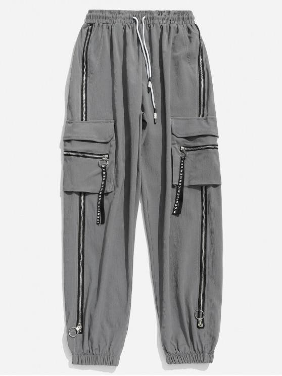 Pantalon de jogging avec poches à glissière et cordon de serrage - Gris Clair XL