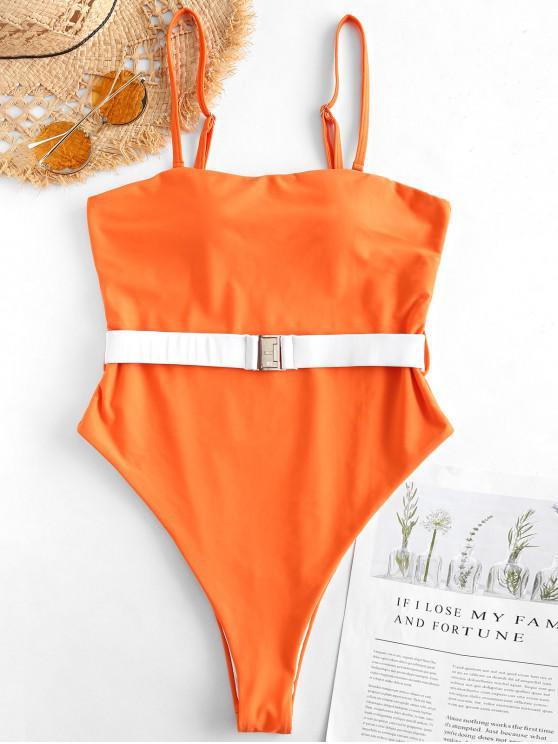 hot ZAFUL Belt High Cut Bandeau Swimsuit - PAPAYA ORANGE M