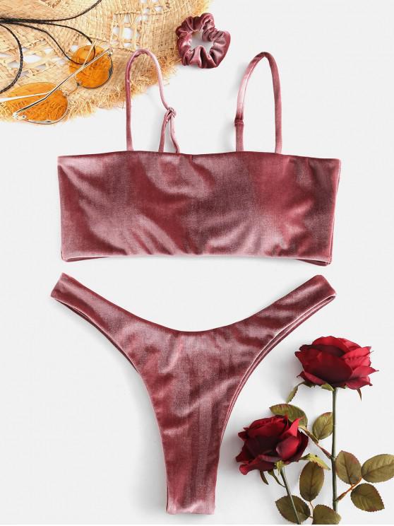 Conjunto de Bikini de Terciopelo de Corte Alto con Banda de Pelo - Rosa Finch S