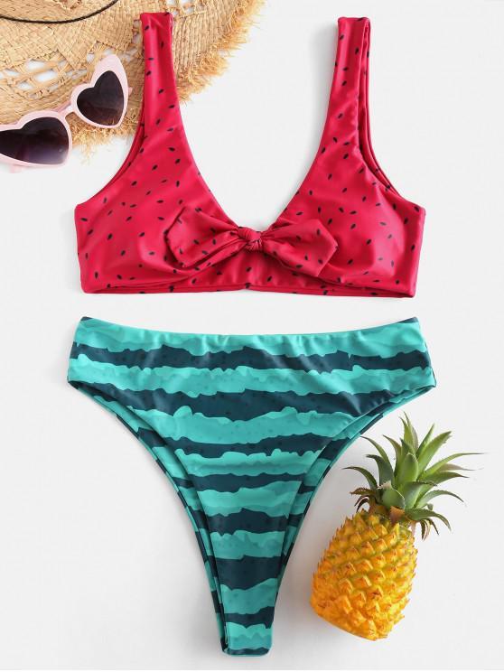 outfits ZAFUL Watermelon Knotted Bikini Set - RED L