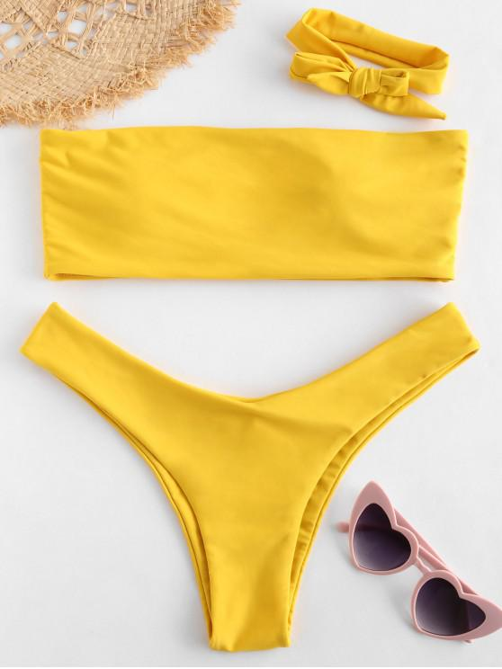 trendy ZAFUL Bandeau Bikini Set with Headband - GOLDEN BROWN S