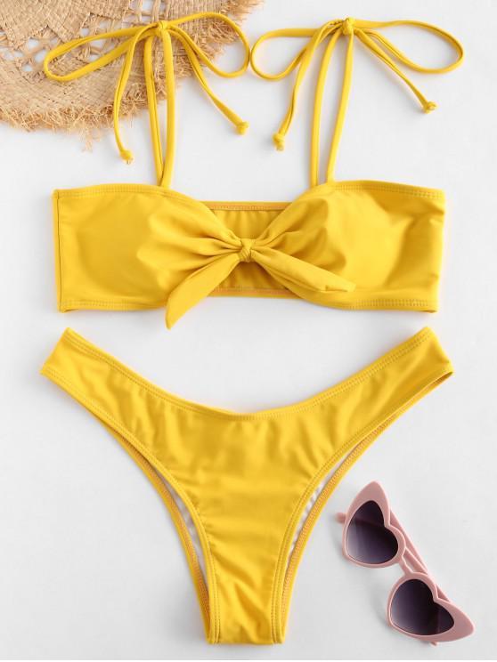 buy ZAFUL Tie Shoulder Knitted Bikini Set - GOLDEN BROWN S