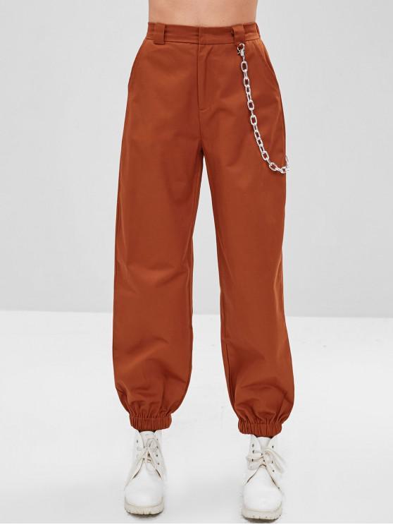 affordable Chain Embellished Jogger Pants - CHESTNUT RED M