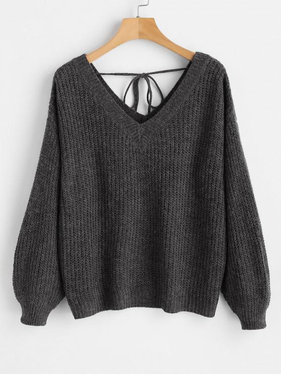 new Drop Shoulder V Neck Oversized Sweater - BLACK S