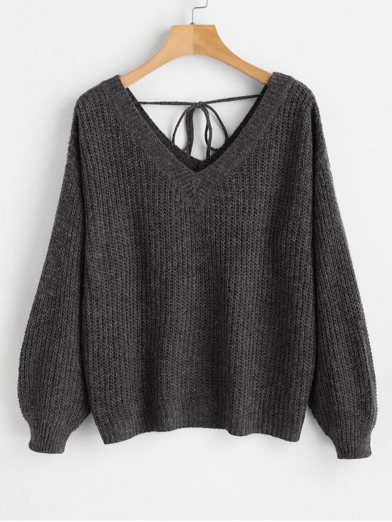 shop Drop Shoulder V Neck Oversized Sweater - BLACK M