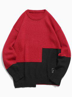 Round Neck Contract Color Pullover Sweater - Red Xl