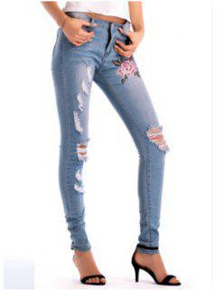 Jeans Bordados Con Lavado De Luz Rasgada - Azul Denim L