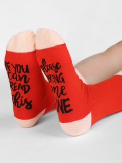 PLEASE BRING ME WINE Novelty Socks - Red