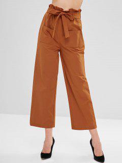 ZAFUL Frilled High Waisted Wide Leg Pants - Halloween Orange M