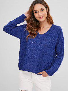 V Neck Plain Loose Knit Sweater - Blue L