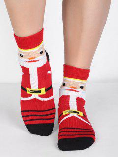 Christmas Decor Santa Claus Socks - Red