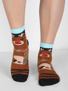 Elk Print Christmas Socks - Multi