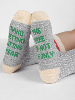 Graphic Winter Letter Tube Socks - Gray