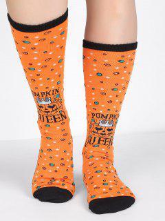 Pumpkin Queen Letter Tube Socks - Pumpkin Orange