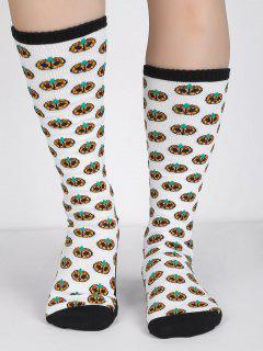 Pumpkins Pattern Halloween Tube Socks - White