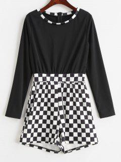 Long Sleeve Checkerboard Plaid Romper - Black S