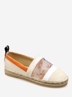 Floral Print Espadrilles Loafers Flats - Apricot Eu 35