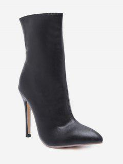 Pointed Toe High Heel Short Boots - Black Eu 36