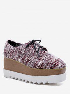 Square Toe Lacing Striped Platform Shoes - Chestnut Red Eu 39