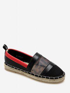 Floral Print Espadrilles Loafers Flats - Black Eu 35