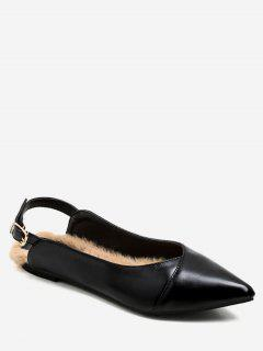 Pointed Toe Faux Fur Slingback Flats - Black Eu 36