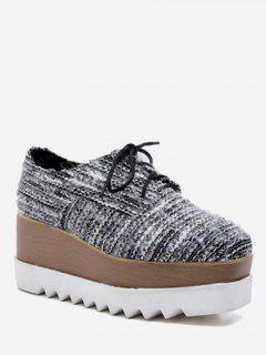 Square Toe Lacing Striped Platform Shoes - Black Eu 35