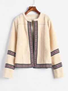 Open Front Fluffy Faux Shearling Coat - Cornsilk M