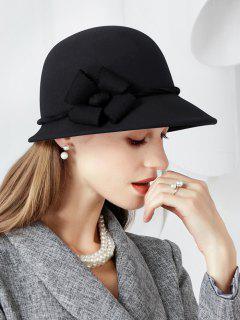 Floral Side Wool Cloche Hat - Black