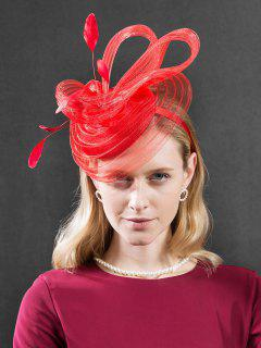British Style Feather Cocktail Hat - Red