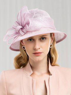 Solid Color Flower Elegant Hat - Mauve