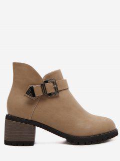Buckle Strap Mid Block Heel Short Boots - Apricot Eu 37