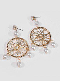 Geometric Hollow Out Design Earrings - Gold