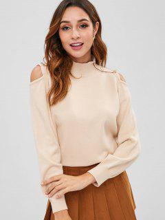 Cold Shoulder Buttoned Sweater - Antique White