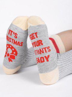 Wool Christmas Letter Cotton Mid Calf Socks - Gray