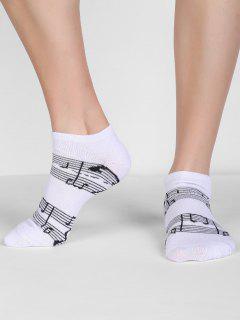 Musical Score Pattern Crew Socks - White
