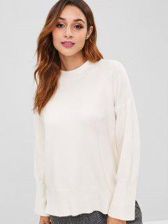 Drop Shoulder Side Slit Sweater - White
