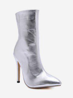 Pointed Toe High Heel Short Boots - Silver Eu 38