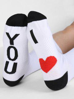 Heart Design Mid Calf Socks - White