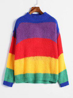 Mehrfarbiger Gestreifter übergroßer Pullover - Multi