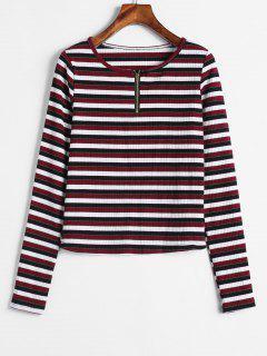 Half Zip Ribbed Stripes Top - Multi L