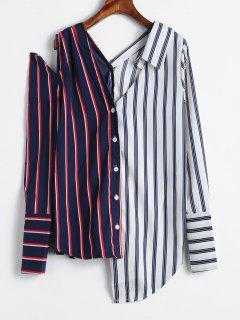 Striped Spliced Deconstructed Asymmetrical Shirt - Multi 2xl