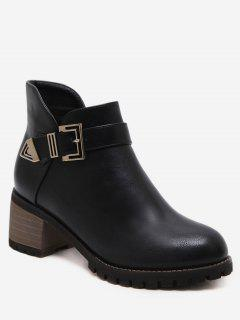 Buckle Strap Mid Block Heel Short Boots - Black Eu 37