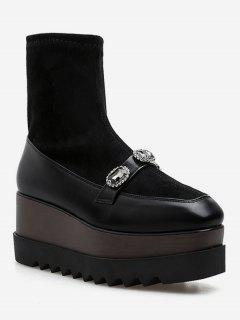Square Toe Rhinestone Sock Platform Shoes - Black Eu 34