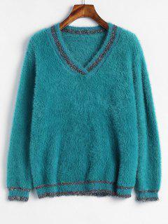 Suéter Con Cuello En V Con Textura De Hilo Brillante - Verde De Mar Ligero
