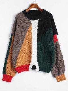 Suéter De Punto Color Block De Cable - Multicolor