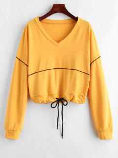 Drop Shoulder Plunge Drawstring Sweatshirt - Bee Yellow L