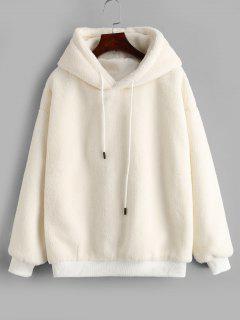 Fluffy Pullover Drop Shoulder Hoodie - Warm White L