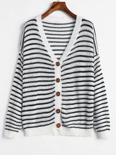 Button Up Rayas Cardigan Abierto De Punto - Blanco