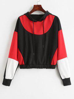 Color Block Drop Shoulder Pullover Hoodie - Multi S