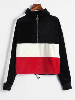 Farbblock-Samt-Pullover Sweatshirt - Multi